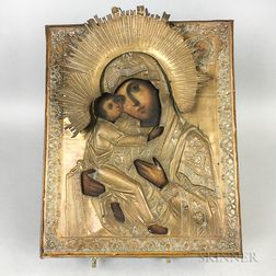 Painted Icon of Madonna and Child with Brass Riza