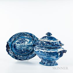"""Large Staffordshire Historical Blue Transfer-decorated """"Fair Mont Near Philadelphia"""" Covered Tureen and Undertray"""