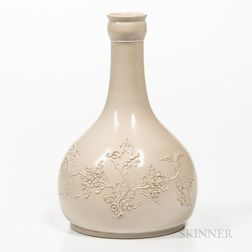 Staffordshire White Salt-glazed Stoneware Water Bottle