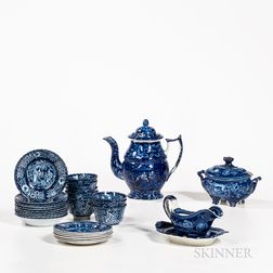Group of Blue Transfer-decorated Teaware