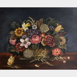 Martha F. Cahoon (American, b. 1905)  Still Life with Basket of Flowers and a Butterfly.