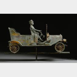 Gilded Molded Copper Touring Car with Driver Weather Vane