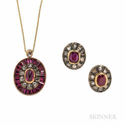 Ruby and Diamond Earrings and Pendant