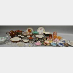 Group of Decorated Ceramic Cups, Saucers, Bowls, and Twenty-seven Pieces of Glass, Ceramic and Metal Kitchenware.
