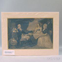 Unframed Folio Mezzotint The Washington Family   After Edward Savage (American,   1761-1817)