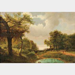 Marinus Adrianus Koekkoek I (Dutch, 1807-1870)      Landscape in Summer with Clouded Sky