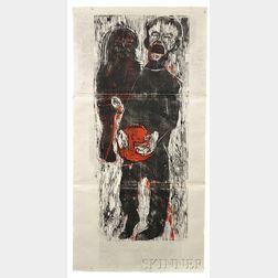 Gustav Kluge (German, b. 1947)      Der Junge mit der roten Plastikschüssel