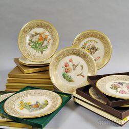 Fifteen Lenox and Boehm Porcelain Bird Plates