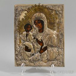 Russian Icon with Silvered Metal Riza