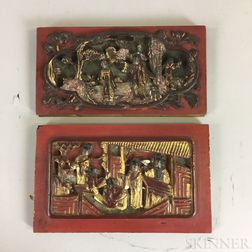 Two Small Carved Wood Panels