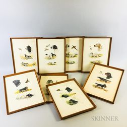 Eight Framed French Hunting Prints