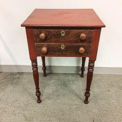 Federal Red-painted Mahogany Veneer Two-drawer Worktable