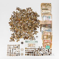 Large Group of World Coins and Banknotes
