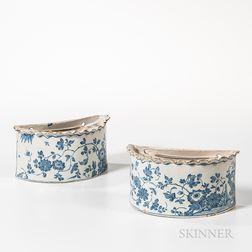 Pair of English Tin-glazed Earthenware Hanging Flower Bricks