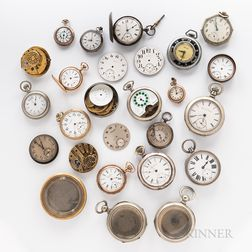 Collection of Pocket Watches, Cases, Dials, and Movements