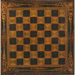 Polychrome Painted Wooden Two-Sided Game Board