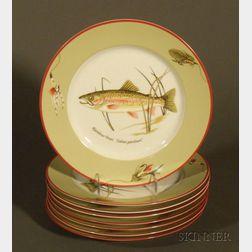 Set of Eight Modern Tiffany Trout Pattern Fish Plates