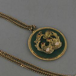 Gem-set Nephrite Jade and Low-karat Gold or Gilt Pendant on 18kt Gold Chain