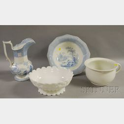 English Blue and White Transfer Decorated Staffordshire Chamber Pitcher and Basin, an Ironstone Chamber Pot, and a Milk Glass Footed...