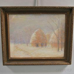 Paul Wagner Roth (American, 1877-1966)      Haystacks in Winter.