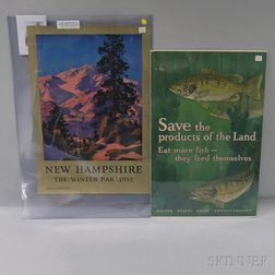 Lithographed Maxfield Parrish Travel Poster and WWI Austerity Poster