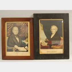 Two Framed Hand-colored Engravings of James Monroe and Henry Clay