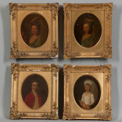 British School, 18th Century Style      Four Small Bust-length Portraits in the Manner of Sir Joshua Reynolds