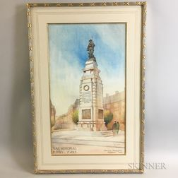 Two Framed Architectural Watercolor Renderings
