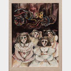 Marija Pecaric-Jug (Croatian, b. 1937)    Four Girls in Party Dresses