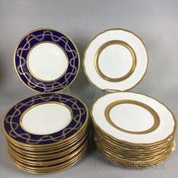 Two Sets of Twelve Mintons and George Jones & Sons Dinner Plates