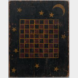 Paint-decorated Pine Checkerboard with Moon and Stars