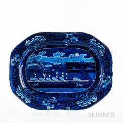 "Large Staffordshire Historical Blue Transfer-decorated ""Landing of Lafayette"" Platter"