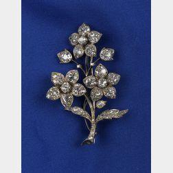 Antique Diamond Flower Pin