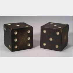 Pair of Painted and Carved Stone Dice