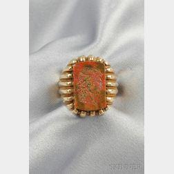 14kt Gold and Jasper Cameo Intaglio Ring