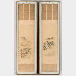Two Framed Hanging Scroll Landscapes
