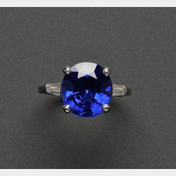 Kashmir Sapphire and Diamond Ring