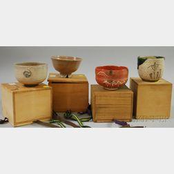 Four Stoneware Tea Ceremony Bowls