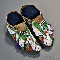 Lakota Beaded Hide Moccasins