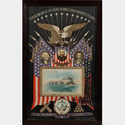 Patriotic Naval Silkwork Picture