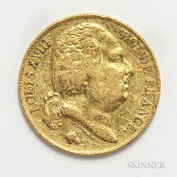 1817-Q French 20 Francs Gold Lamp.     Estimate $200-300