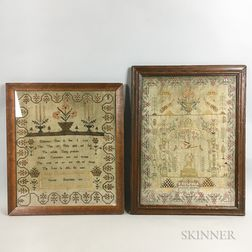 Two Framed English Needlework Samplers