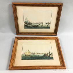 Two Hand-colored Prints of Boston and Philadelphia After Garneray