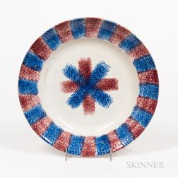Red and Blue Rainbow Spatterware Plate