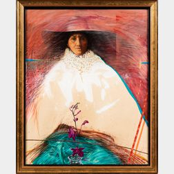 Latin American School, 20th Century      Figure of a Woman with an Orchid.