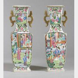 Pair of Rose Mandarin Porcelain Vases