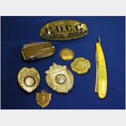 Cased 1970s Ronson Leather-clad Lighter, Straight Razor, Seven Badges and Medals