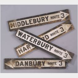 Lot of Four Route 3 Connecticut Highway Signs