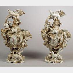 Near Pair of German Porcelain Rococo Revival Ewers