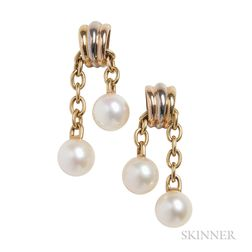 18kt Gold and Cultured Pearl Trinity Earrings, Cartier